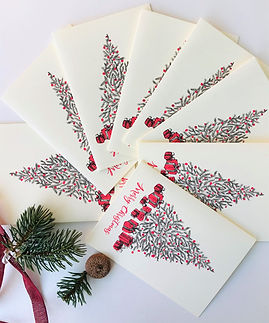 Maria Zvaric Illustration/Bespoke illustration/ Personalised Christmas greeting cards set/Handmade gift
