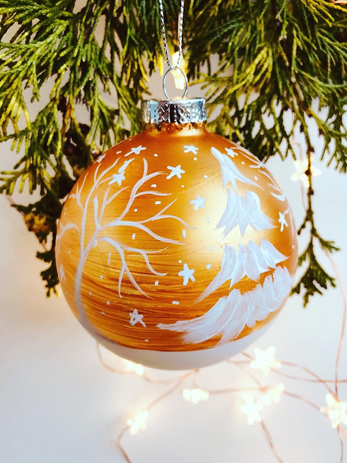 Gold Christmas Bauble - Handmade