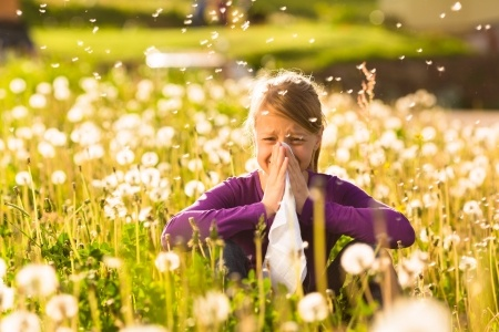 15678213_s - girl surrounded by pollen in meadow
