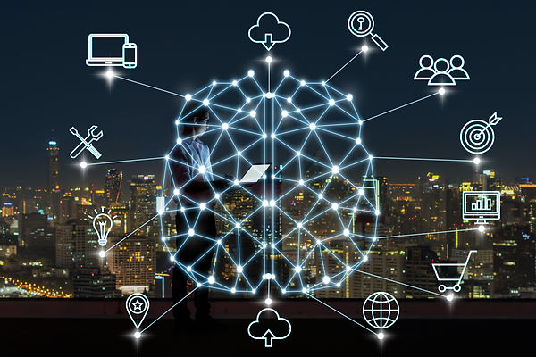 Customer journey touchpoints connected to a user's brain