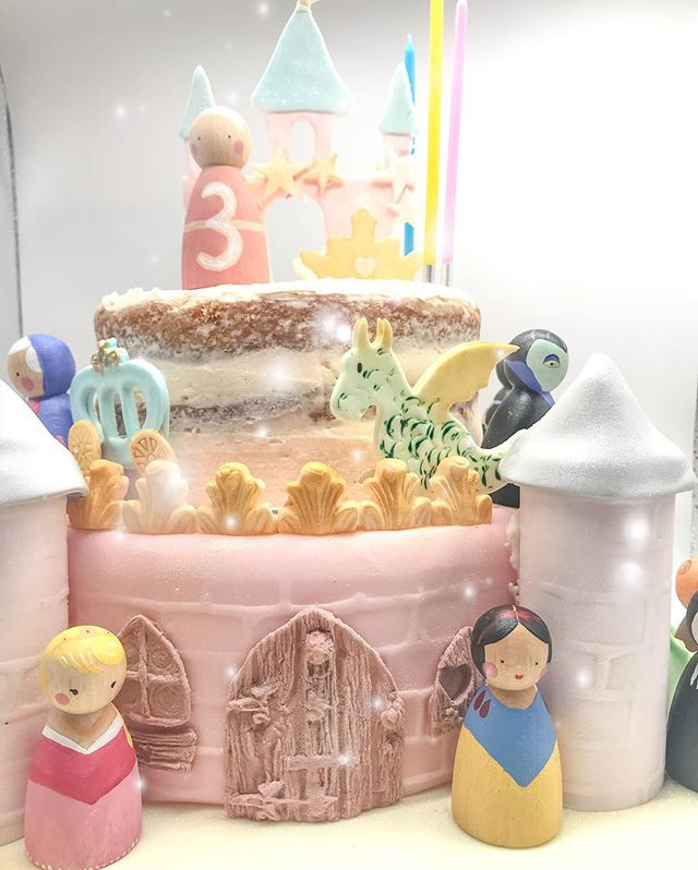 The bottom tier and turrets were an iced cake dummy. We definitely didn't need that much cake!