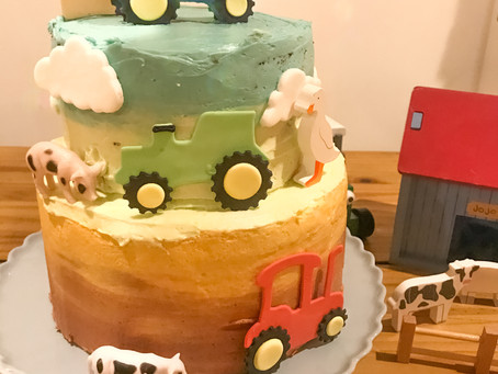 Chicken Button Tractor Cake with Posh Honey Buttercream