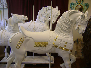 Bushnell Park Carousel horses being restored at The New England Carousel Museum