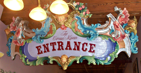 Welcome, the entrance to The New England Carousel Museum in downtown Bristol Connecticut