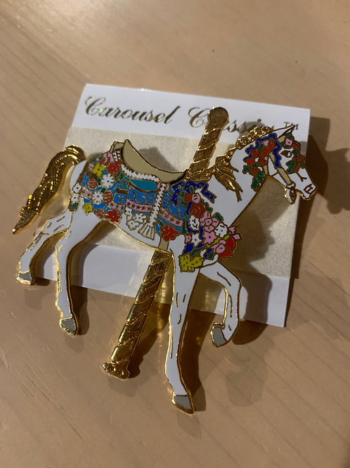 Colorful Carousel Horse Pin