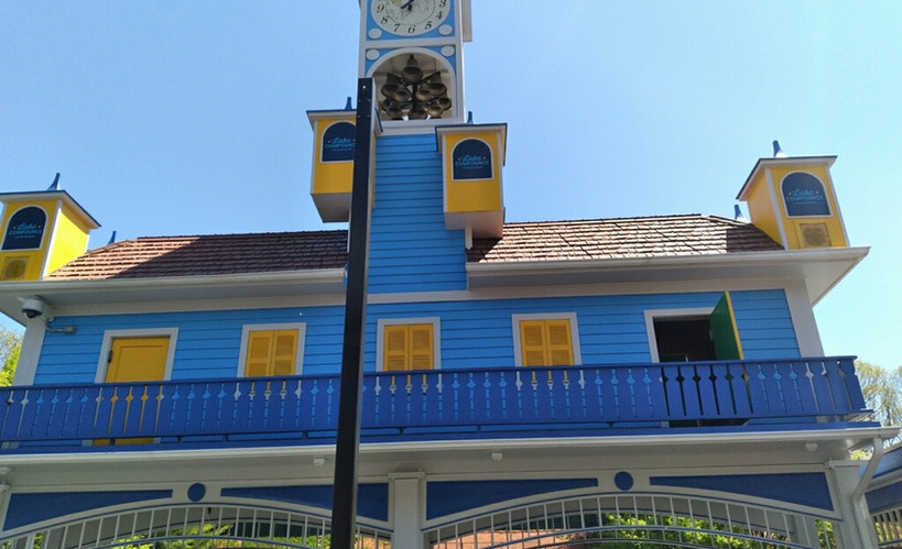 bells and clock in blue and yellow