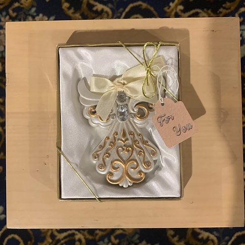 White/Bronze Angel Ornaments