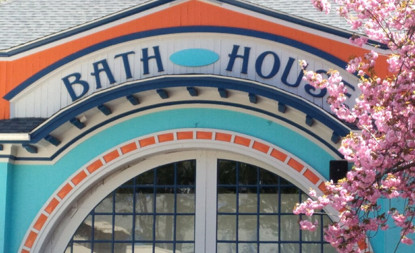 We love the new colors on the old bath house.