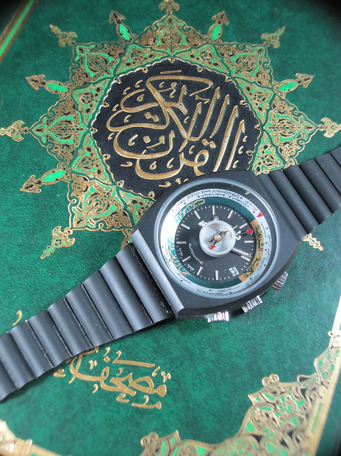 New-Old Stock 1970's Dalil Automatic Prayer Mechanical Watch, Full Set