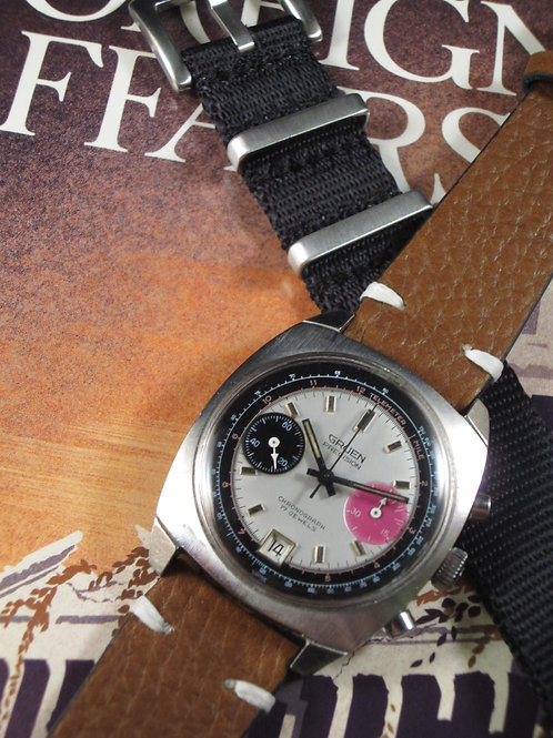 "1970's Gruen Manual-Wind Valjoux 7734 ""Panda"" Chronograph"