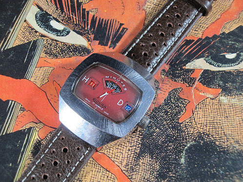 1970s Sicura Jump Hour Mechanical Watch, Red Variant