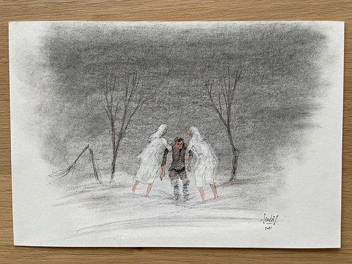 Originele tekening - Witte schimmen