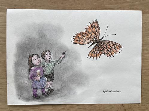 Originele tekening - Aglais urticae vlinder