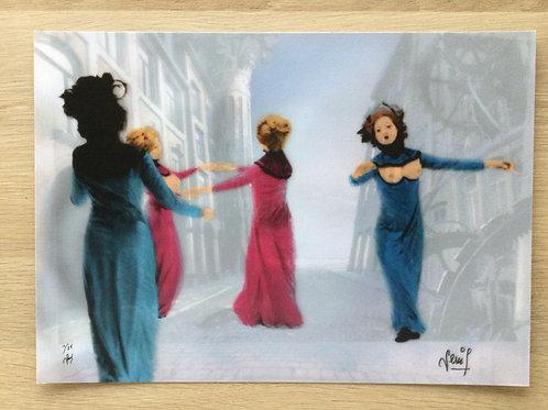 Inkjetprint NACHTVLINDERS - dansende dames straatbeeld