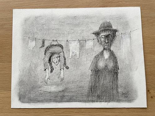 Originele tekening - De vuile was