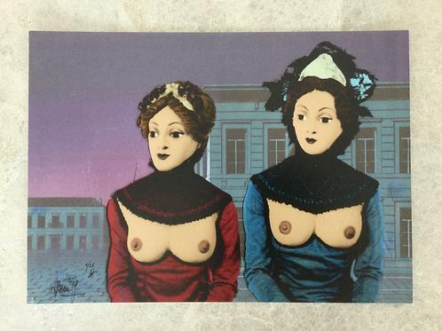 Inkjetprint NACHTVLINDERS - zittende dames
