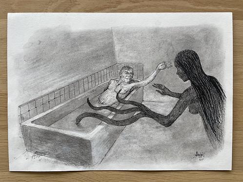 Originele tekening - Le bain de minuit