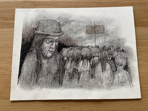 Originele tekening - Meisjes protest