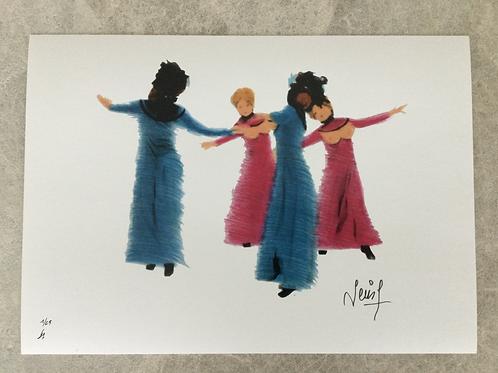 Inkjetprint NACHTVLINDERS - dansende dames