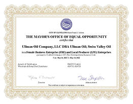 City of Cleveland Certificate FBE-LPE 5-