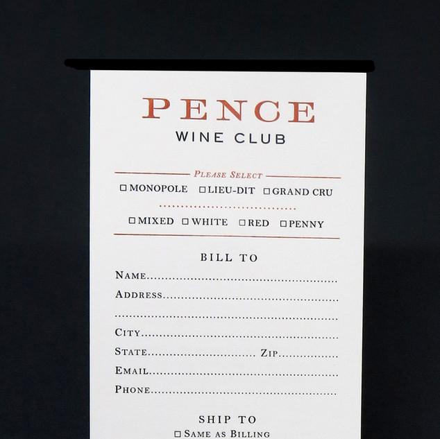 Pence Wine Club / Sign Up Card