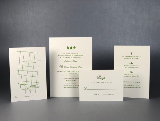 Wedding Invitation Set / Printed Letterpress