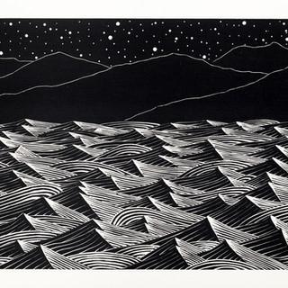 Bright Windy Night / Wood Engraving