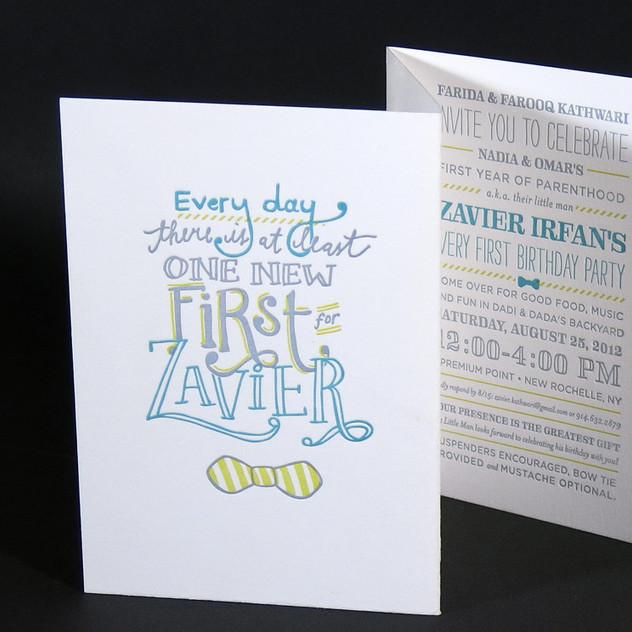Accordion Fold Invitation / Letterpress Invitation
