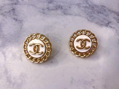 White & Gold CC Earrings- Chain Design