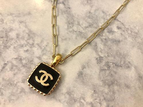 Black & Gold Square CC Necklace