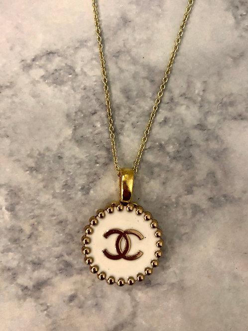 White & Gold CC Necklace- Jumbo Beaded Design