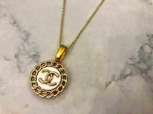 White & Gold CC Necklace- Chain Design