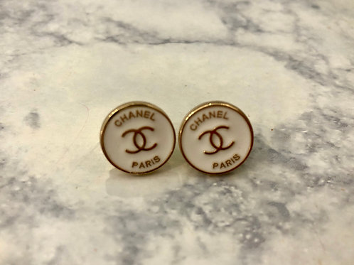 Mini White & Gold CC Paris Stud Earrings