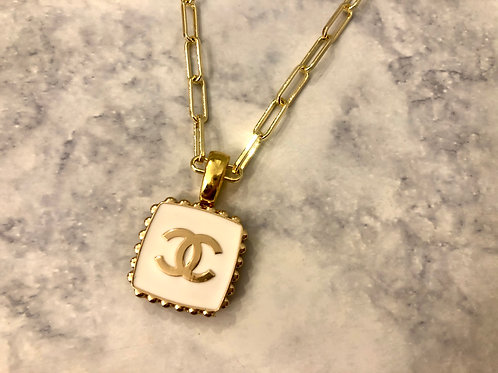 White & Gold Square CC Necklace