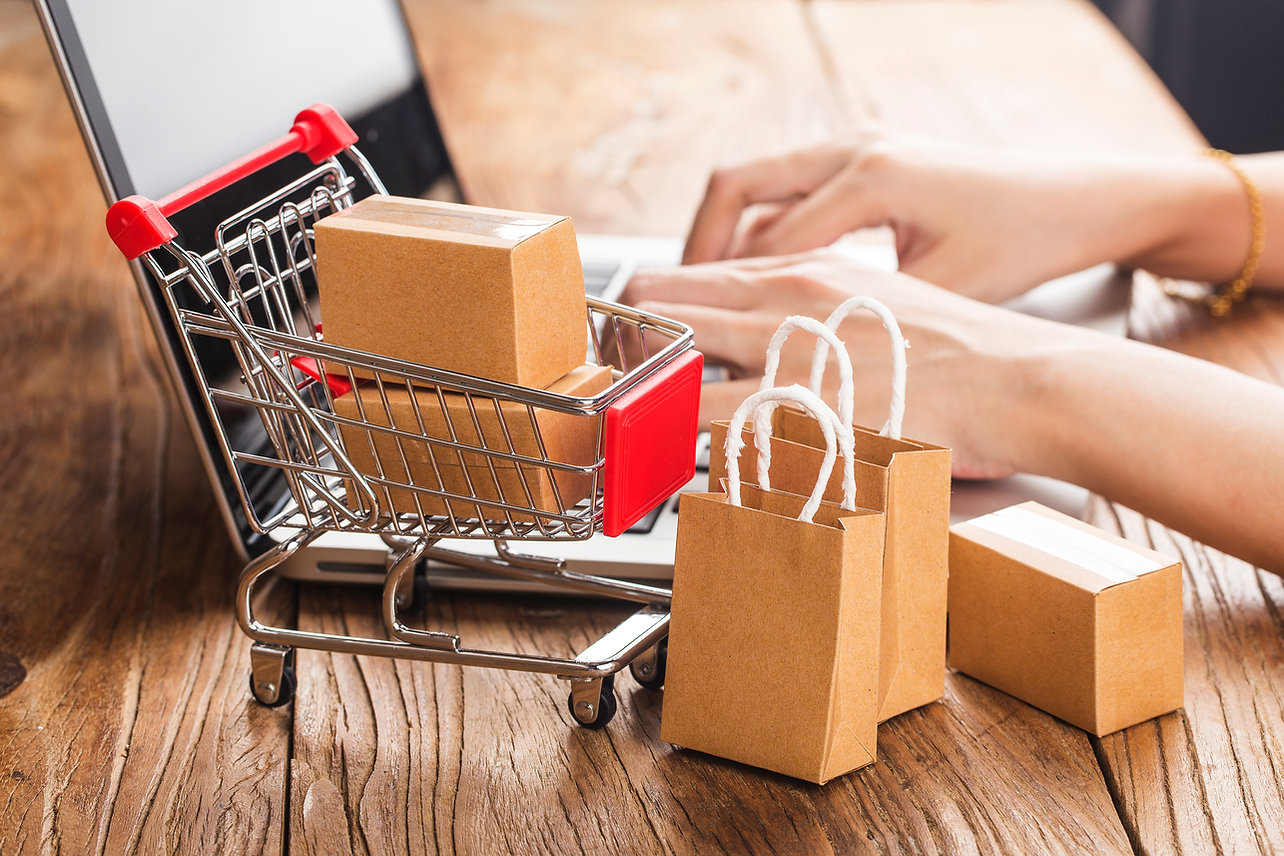 shopping online at home concept.Cartons