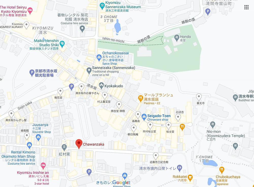 map, Kyoto, Chawanzaka, Zusetsu Store