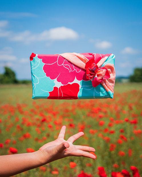 Peony furoshiki poppy wrap in a poppy field
