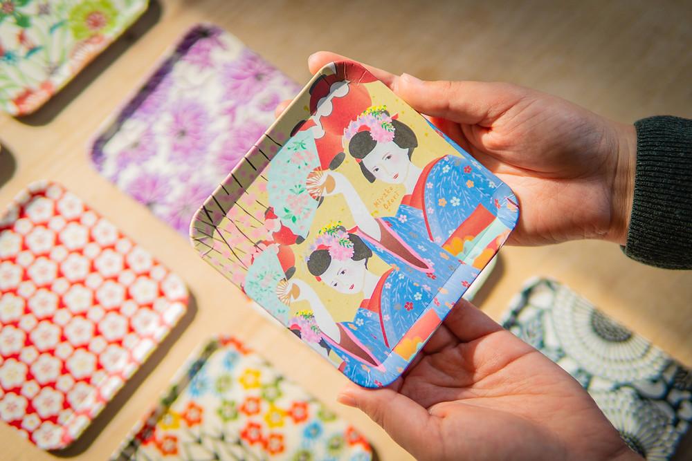 Zusetsu store washi tray geisha spring festival cherry blossom hanami
