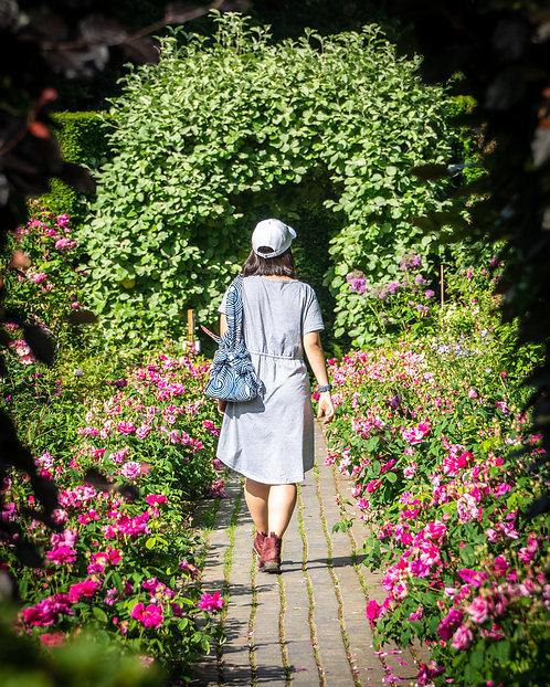 stripy furoshiki bag being carried in a garden