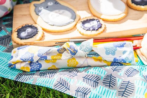 Japanese Apricot furoshiki picnic cutlery wrap