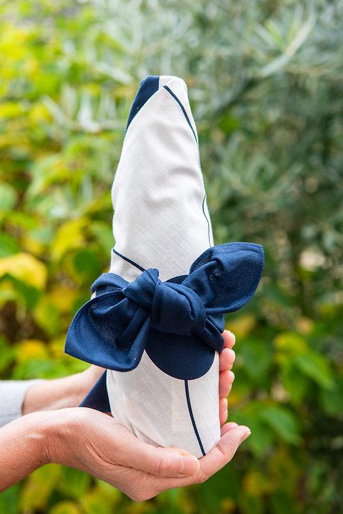 Navy and white furoshiki gift-wrapped present