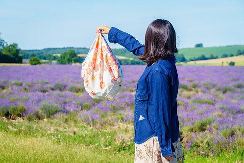 100cm Adeline Klam Organic Cotton Furoshiki | Japanese Apricot Pink Blue