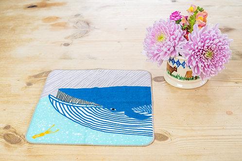 Kata Kata Fluffy Face Towel - Whale Blue