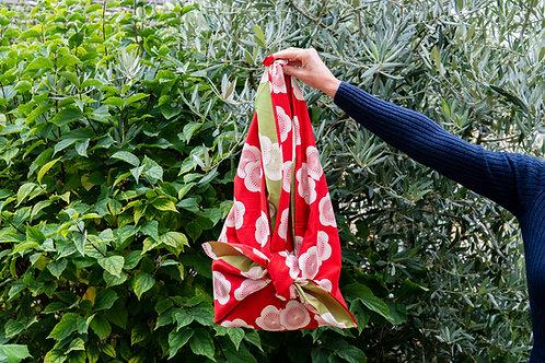 104cm Isa Monyo Reversible Furoshiki | Japanese Apricot Red/Green