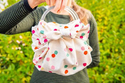Modern Girl Furoshiki Bag Kit with Ring Handles - Konpeitou Ecru