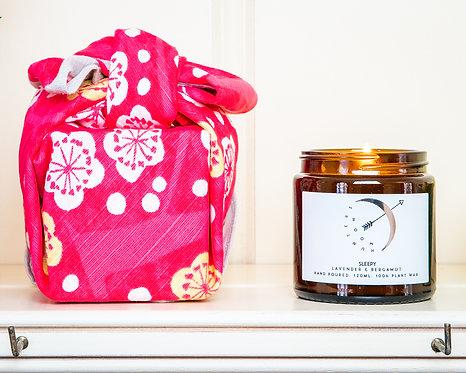Furoshiki Gift-wrapped Scented Candle - Lavender & Bergamot