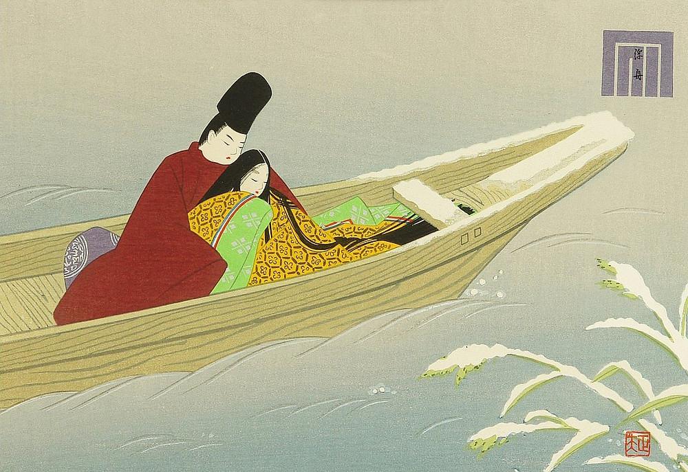 Zusetsu furoshiki store japanese woodblock print