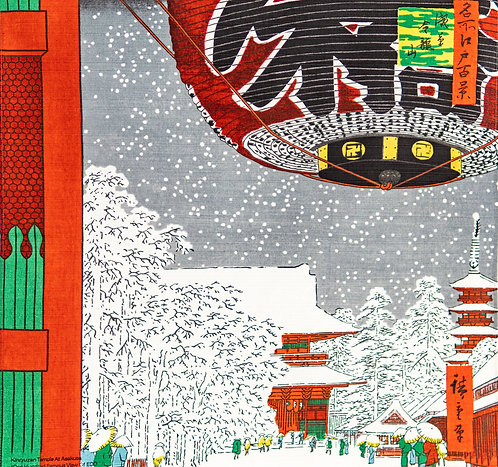 48cm Ukiyoe Small Furoshiki Kinryuzan Temple, Asakusa by Hiroshige