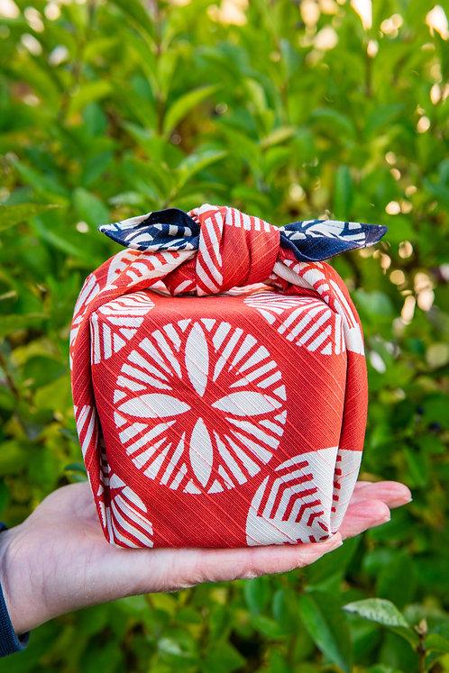 48cm Isa Monyo Reversible Furoshiki | Pine Navy Blue/Red