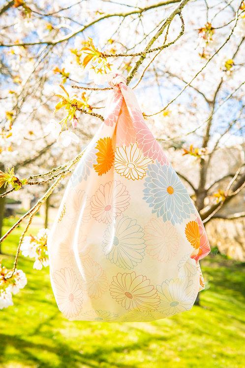 100cm Adeline Klam Organic Cotton Furoshiki   Chrysanthemum Lilac Pink